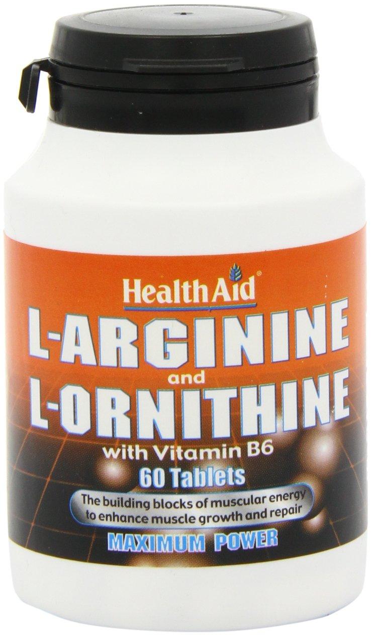 61e%2BX7TwpsL - HealthAid L-Arginine with L-Ornithine 300mg - 60 Tablets