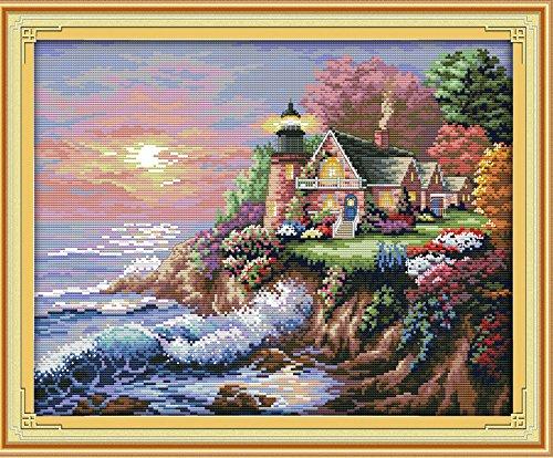 Joy Sunday® Set 14ct Prägung Stickdecken Präzise-bedruckt needlework- The Seaside Leuchtturm (1) 45* 38cm -