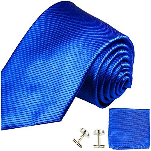 Cravate bleu uni ensemble de cravate 3 Pièces ( 100% Soie Cravate + Mouchoir + Boutons de manchette )