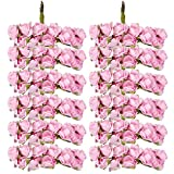 Lot de 12 Mini Bouquet de Rose Artificielle en Papier Bouton de Fleur Décor Rose Clair