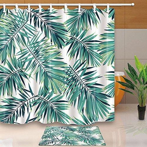 GuoEY Tropische Pflanzen Einrichtung Phoenix Palm Blätter 71 X 71 im Schimmel Polyester Duschvorhang Anzug mit 15,7 x 23,6 in Flanell rutschfeste Boden Fußmatte Badewanne Teppiche