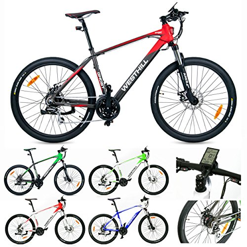 West Hill GHOST Electric Mountain Bike – 36 VOLT Li-ion SAMSUNG Battery – On Board Computer (Graphite & Red)