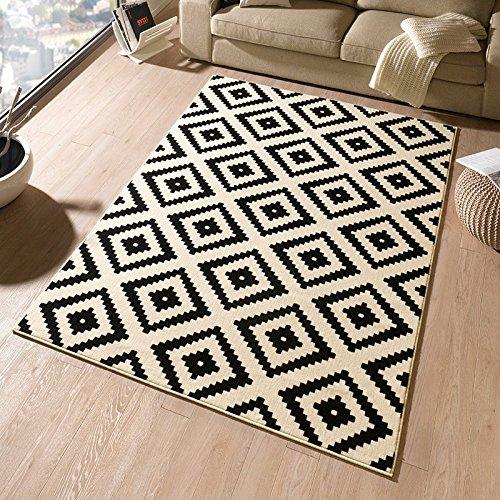 HANSE Home Designer Velours Raute Schwarz Creme Teppich Läufer Bettumrandung Brücke Polypropylen 120 x 170 x 0.9 cm