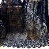 Chantilly ALE02 Rideaux en dentelle florale pour robe de mariage/mariée en tissu à fleurs Bordure festonnée Blanc ivoire/noir 300 x 150 cm, bleu marine, 300cmx150cm