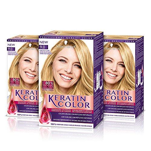 Keratin Cream coloration des cheveux 9.0 Blond Très Clair – Lot De 3
