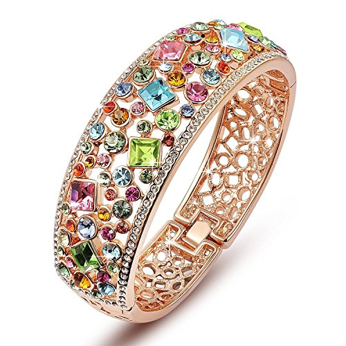 Best Valentine Gifts : YouBella Jewellery Gracias Collection Multicolor Crystals Studded Bracelet Bangle for Girls and Women