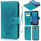 S8 Hülle,Handyhülle PU Leder Flip Wallet Cover in Book Style Stand Case Card Slot Leder Tasche Case Karteneinschub TPU Innen 2 Combo Separate Karteneinschub und Magnetverschluß Kratzfestes und Schmutzunempfindliches in Blau Elefant für Samsung Galaxy S8(2 in 1)