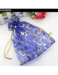 Generic 100 PCS Lot 15X20CM Royal Blue Organza Heart Printed Pouch Drawstring Candy Bag Organza Jewelry Bags Gift...