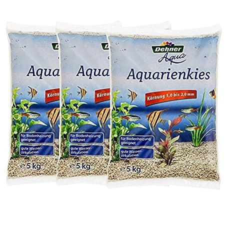Dehner Aqua Aquarienkies, Körnung 1 – 2 mm, 3 x 5 kg (15 kg), weiß