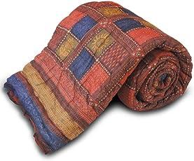 Little India Jaipuri Style Bagru Cotton Single Bed Quilt - Multicolour