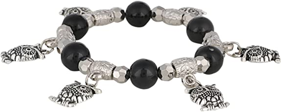 Archi Collection Handmade Black Stone (8 mm) Beaded Stretch Charm Bracelet with Hanging Silver Leaves for Women and Girls