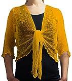 Damen Crochet Strecken Fisch-Netz Boleroshrug Mutterschaft Krawatte an der Taille Cardigan (Eine Größe passt DE 34-48, Golden)
