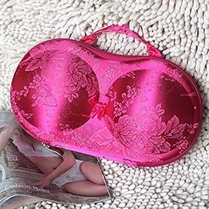 Red Flower Portable Protective Bra Underwear Lingerie Case Travel Organizer Bag