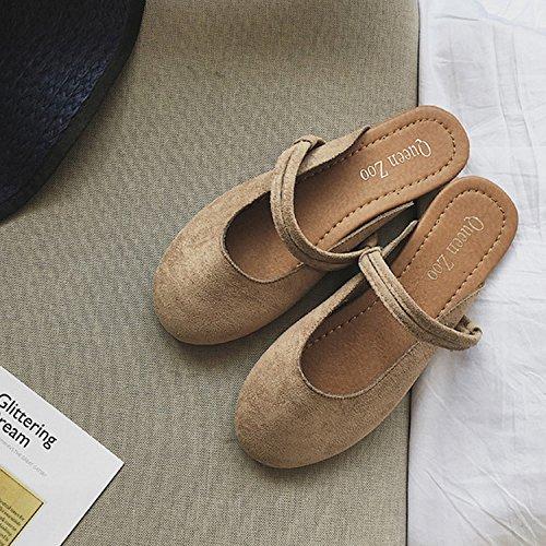 CHNHIRA Frühling und Sommer Damen Matt Pantoletten Sandale Aprikose