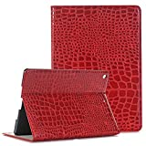 iPad Air 2 Smart Case 9,7 zoll, TechCode Luxus Krokodil Haut Muster PU Leder Bookstyle Folio Case Cover Stand mit Auto a