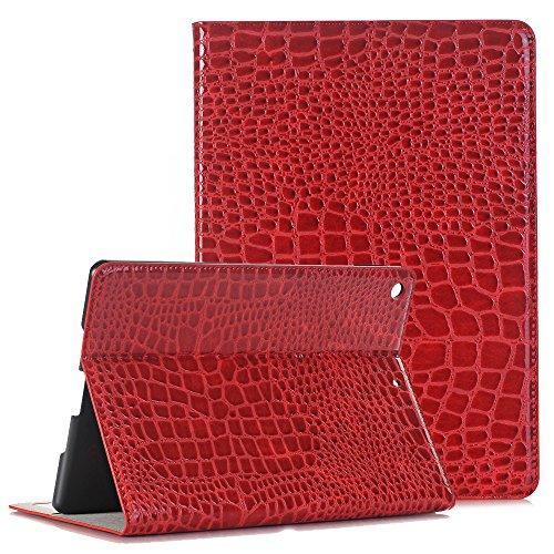iPad Mini 2 Hülle 7,9 zoll, TechCode Luxus Muster PU Leder Folio Cover mit Geldbörse Ledertasche Schutzhülle Etui für iPad Mini 1/2/3 (Rot)