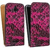 HTC Desire 510 Downflip Bag Tasche white - Pink Viper
