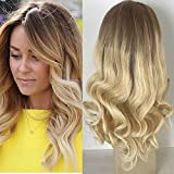 Full Shine 14 Zoll 100 Menschliche Reale Remy Haar Lace Front Peruecke mit Baby Haar Blonde Ombre Balayage Front Lace Wig Dunkle Wurzeln Farbe #6 Fading zu Blond Menschliches Haar