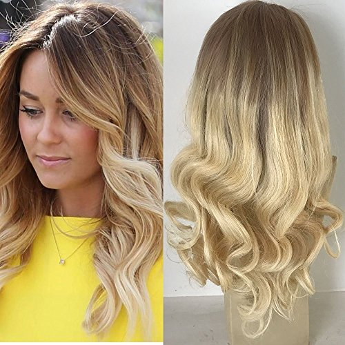 Full Shine 14 Zoll 100 Menschliche Reale Remy Haar Lace Front Peruecke mit Baby Haar Blonde Ombre Balayage Front Lace Wig Dunkle Wurzeln Farbe #6 Fading zu Blond Menschliches Haar (Blond Lace Perücken Full)