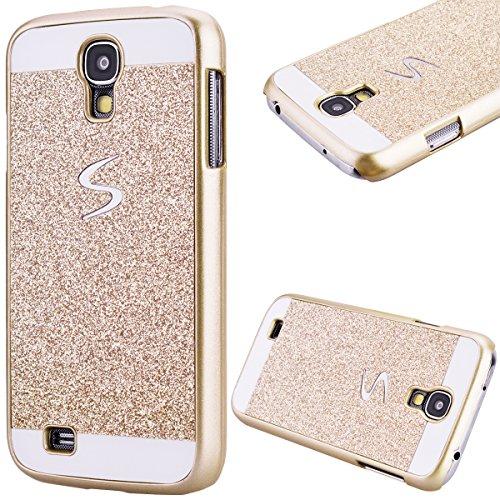 GrandEver Custodia Rigida per Samsung Galaxy S4, UltraSlim Dura PC Protettiva Cover Bumper, Glitter Bling Hard Protettivo Durable Case con Diamanti Back Case Copertura - Oro