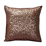 Rosennie Solid Color Glitter Pailletten Dekokissen Fall Cafe Home Decor 40cm*40cm Kissenbezüge (Kaffee)