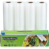 KitchenBoss Sacs sous Vide Pack de 4 Rouleaux 20 * 500cm avec Boîte de Coupe(Pas Plus de Ciseaux) sans BPA, Approuvé par la FDA pour Appareil sous Vide, Qualité Commerciale