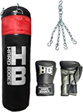 Hard Bodies Combo 10-A Synthetic Leather Punching Bag- Black - Filled + Boxing Gloves +Heavy Chain