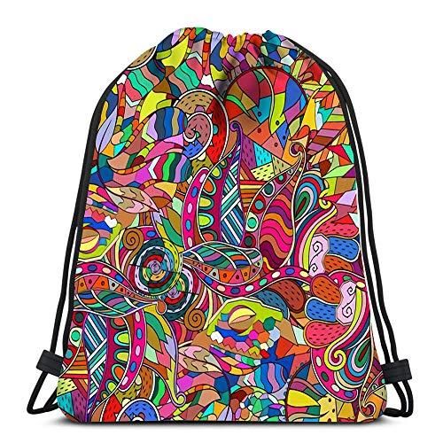 Rucksack mit Kordelzug, beruhigendes Mehendi-Design, ordentlich, gleichmäßig, farbenfroh, harmonisch für Schule oder Reisen -