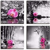 RuYun Toile Noir et Blanc Peinture Affiche Papillon orchidée Fleur Zen Pierres Wall Art Impression Bambou sur Toile…