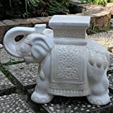White : International Caravan VHO16A-C-LG-WW-IC Furniture Piece Large Porcelain Elephant Stool