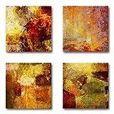 Abstrakt - Set B schwebend, 4-teiliges Bilder-Set je Teil 29x29cm, Seidenmatte moderne Optik auf Forex, UV-stabil, wasserfest, Kunstdruck für Büro, Wohnzimmer, XXL Deko Bild