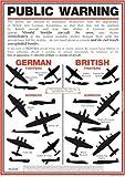 World War 2 Public Warning Aircraft Identification Poster - A3
