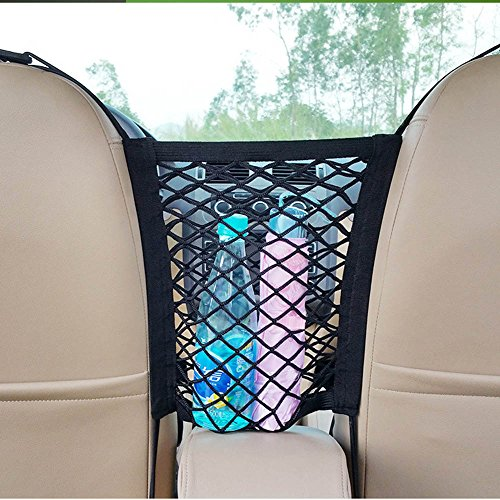 EBILUN - Universal Mesh Organizer for Car Seat, Scalability Mesh Organizer, Cargo Net Hook Bag for Vehicle Security Items, Car Cleaning Tools, Storage Accessories (Black, 30 x 23 cm)