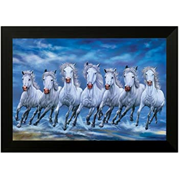 Art Factory Vaastu Seven Horse Canvas Painting Medium Original