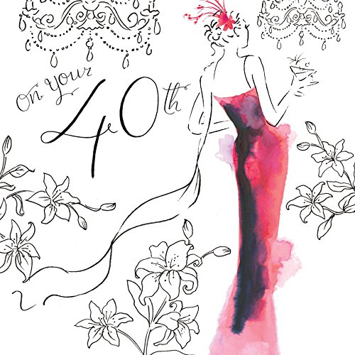 Twizler 40th Birthday Card For Her with Swarovski Crystal Finish, Silver Foiling, Unique Watercolour Effect and Cocktail Dress - 40 Year Old - Age 40 Birthday Card - Female Birthday Card