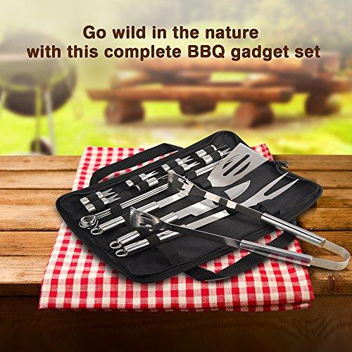 61e cAmuFdL - Grillbesteck Set TaoTronics Edelstahl Profi 18-teilig BBQ Tools, Garten Barbecue Grill Zubehör mit Wasserfester Lagertasche