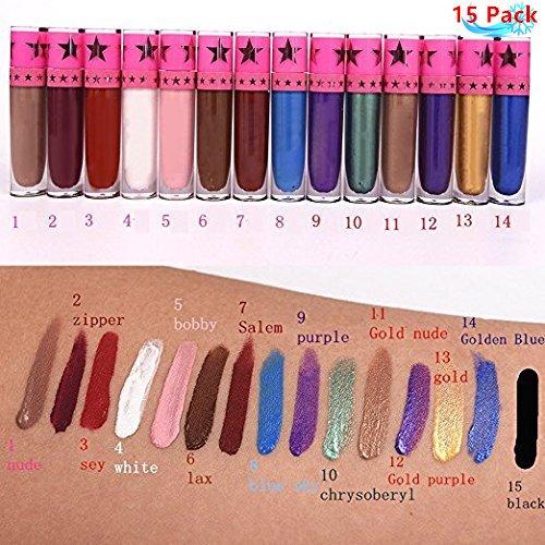 Petansy Conjunto de maquillaje 15Pcs Set de brillo de labios a prueba de agua de larga duración Conjunto de lápiz labial líquido mate