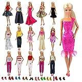 Miunana 25 Pezzi = 10 PCS Abiti Vestiti Gonne + 5 Camiciette + 5 Pantaloni Alla Moda Fashion + 10 PCS Scarpe Selezionati A Caso Per Bambola Barbie Dolls
