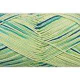 Grundl 861-191 50 g Cotton Quick Print Knitting Yarn Ball, Green Blue Multicolor
