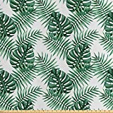 ABAKUHAUS Blatt Satin Stoff als Meterware, Palm Mango