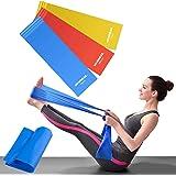 OUNDEAL Set di 3 Elastici Fitness, Fasce Elastiche Fitness, Bande Elastiche Fitness, Bande Elastiche Resistenza, Fascia Elast