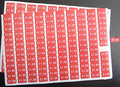 150-White-on-Red-178x10mm-Price-Promotional-Display-Stand-Point-of-Sale-Stickers-Self-Adhesive-Labels