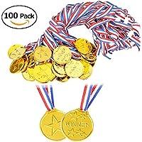 BigLion 100 Piezas Niños Winner Medals medallas de Oro ganadoras de plástico Party Bag Fillers Juegos de Juguete Decoración para Fiesta, Recompensa, Niños Fiesta Deportiva, Competencia