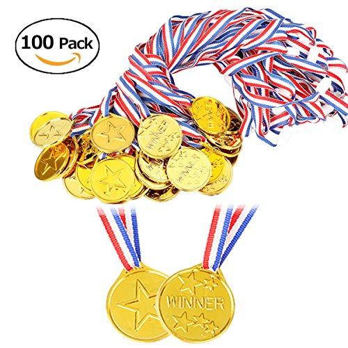 BigLion 100 Stück Goldmedaillen Gewinner Kunststoff Medaillen Kinder Winner plastik Sieger Medaillen medals Spielzeuge Auszeichnungen Party Bag Fillers für Kinder Sport Party, Wettbewerbe, Buchstabieren Bienen, Party Spiel Spielzeug, Kinder Gewinner Preise, Belohnung (Dekoration-medaille)