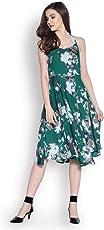 Abiti Bella Women's Green Fit and Flare Woven Dress