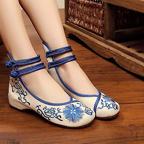 Frauen bestickte Schuhe fallen dünne Schuhe tanzen nationalen Stil Schuhe ( Farbe : Blau , größe : US:7.5\UK:6.5\EUR:40 )