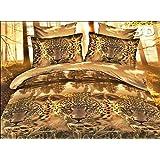 155x200 cm 3D Microfaser Bettwäsche Bettbezüge Bettwäschegarnituren mit dem Bettlaken 4tlg schöne Farben und Muster FSH273