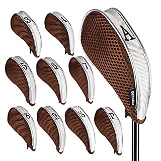 Andux Mesh Golf Iron Head Covers with Zipper Left and Right Handed 10pcs/set MT/YB003 Coffee/grey