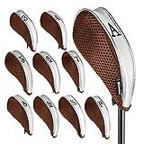 Andux Netz Golf Schlägerkopfhüllen mit Reißverschluss für Links-und Rechtshänder 10pcs/set MT/YB003 Kaffee/grau