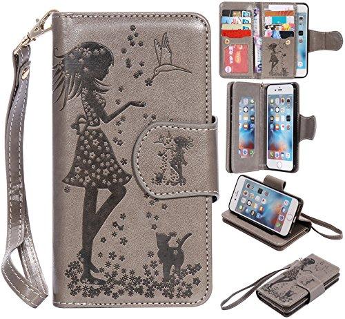 iPhone 6 Tasche, Anfire iPhone 6S Hülle in Rot Magnetverschluss Kartenfächer Klapptasche Stil Schutzhülle Handyhülle Apple iPhone 6 / 6S (4.7 Zoll) Premium Geldbeutel Kunstleder Flip Taschenhülle Case Weiß